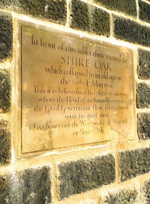 Shire Oak plaque in better days